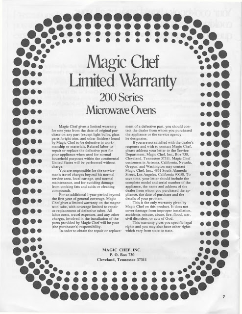 1983 Fleetwood Pace Arrow Owners Manuals  Magic Chef 200 Series Microwave Manual
